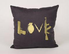 Weapon Love Cotton Throw Pillow Cover  16x16 18x18 by Daneeyo