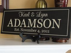 Engraved Personalized Family name signs Custom Wooden signs last name sign Custom wedding gift Established family sign Anniversary Plaque via Etsy