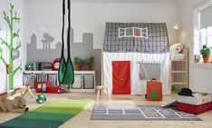 Bring the big world into your child's bedroom and spark their imagination by combining IKEA KURA reversible bed with the fun, house-themed KURA bed tent. Playroom Design, Kids Room Design, Playroom Ideas, Ikea Playroom, Kura Cama Ikea, Ikea Kids Bedroom, Bed Ikea, Childrens Room, Bed Tent