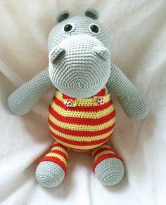 Crocheted amigurumi hippo