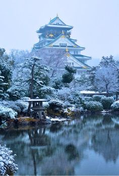 snow in osaka castle japan i would love to go back in the. Black Bedroom Furniture Sets. Home Design Ideas