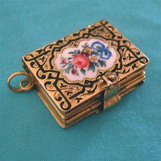 Rare Antique 14k Gold Victorian Enamel Book Locket Pendant Fob..