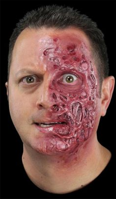 Meatbag burn injury appliance by CFX. This foam latex maks makes a great two faced villain. Includes mask only. Supplied unpainted. ORDERS OUTSIDE OF THE US MUST READ AND UNDERSTAND THIS NOTICE: CLICK