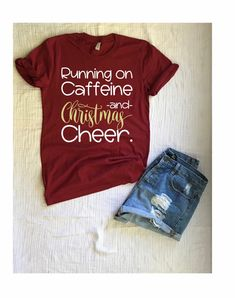 Running on caffeine and Christmas cheer Christmas Tshirt  Womens Tee Holiday  shirt 12f2c87f240c