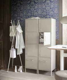 Create personal, private workspace storage using IDÅSEN high cabinet with drawer and doors. From IKEA, it has an industrial look in beige steel with three locker-style cabinets and a bottom drawer. Metal Storage Cabinets, Cabinet Drawers, Locker Storage, Home Office, Office Decor, Ikea Sortiment, Sit Stand Desk, Secure Storage, Drawer Unit