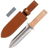 Hori Hori Garden Knife with Extra Sharp Blade and Thick Leather Sheath - Garden and Camping Knife, in Gift Box, with a Free Sharpening Whetstone. Makes a Great Christmas Gift for Gardeners! - http://howtomakeastorageshed.com/articles/hori-hori-garden-knife-with-extra-sharp-blade-and-thick-leather-sheath-garden-and-camping-knife-in-gift-box-with-a-free-sharpening-whetstone-makes-a-great-christmas-gift-for-gardeners/