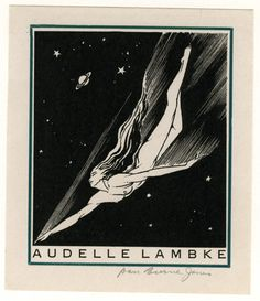 Exlibris Audelle Lambke by Dan Burne Jones, Auckland War Memorial Museum