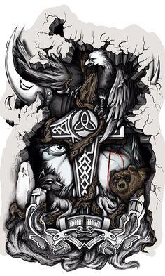 Tatto Odin by Mstibog on DeviantArt Norse Mythology Tattoo, Norse Tattoo, Celtic Tattoos, Art Viking, Viking Symbols, Viking Warrior, Body Art Tattoos, Sleeve Tattoos, Symbole Viking