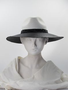 Casablanca | Label: Victoria Grant | Black and ivory panama straw hat with ivory crown, black brim and black beaded band. Summer wear | Made in England