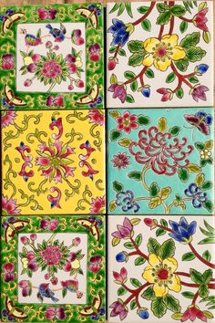These look as if they may be Peranakan Tile Patterns, Pattern Art, Pattern Design, Batik Pattern, Tile Art, Tiles, Azulejos Art Nouveau, Chinese Patterns, Motif Floral