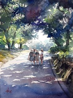 15 Ideas for painting acuarela watercolor Watercolor Scenery, Watercolor Artwork, Watercolor Artists, Watercolor Techniques, Watercolor Landscape, Watercolor And Ink, Landscape Paintings, Watercolor Illustration, Landscapes