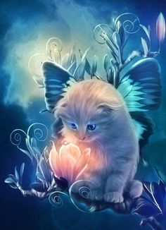 Diamond Painting Fairy Cat w Magic Bloom. 5D DIY Craft Kit. Square drill, 7 sizes.