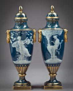 Pair of English Porcelain Pate-Sur-Pate Covered Vases, Minton, circa 1880, Artist: Alboine Birks