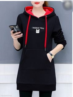 Kangaroo Pocket Printed Hoodie Women Clothes For Cheap, Collections, Styles Perfectly Fit You, Never Miss It! Girls Fashion Clothes, Girl Fashion, Fashion Dresses, Clothes For Women, Womens Fashion, Punk Fashion, Lolita Fashion, Fashion Trends, Plain Hoodies