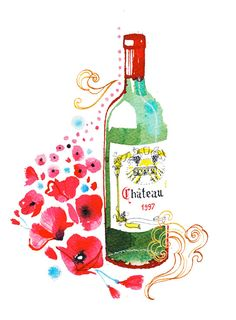 """Food print of french wine Home decoration by VeronicaDallAntonia - More illustrations LINE BOTWIN """"girly illustrations"""""""