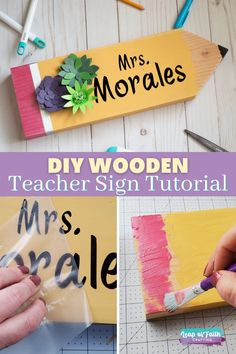 Teacher Pencil Sign DIY:  Easy Wood Project for a Teacher Gift!