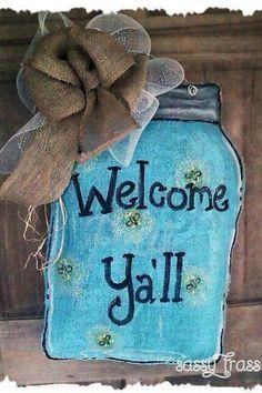 Burlap door hanger-lightning bugs, mason jar, welcome y'all