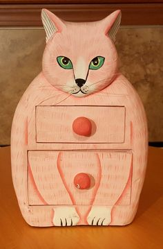 Cat Pink Dresser Kitten Statue Hand Carved & Hand Painted Solid Wood Folk Art | eBay
