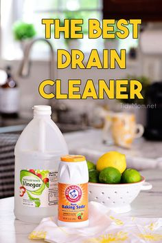 Keep drains clean, fresh and even remove most clogs with this all natural drain cleaner of distilled white vinegar and baking soda without using chemicals. Natural Homemade Drain Cleaner is easier than you think and way less expensive. Best Drain Cleaner, Homemade Drain Cleaner, Natural Drain Cleaner, Natural Cleaners, Cleaners Homemade, Shower Drain Cleaner, Drain Cleaner Vinegar, Diy Cleaners, Cleaning