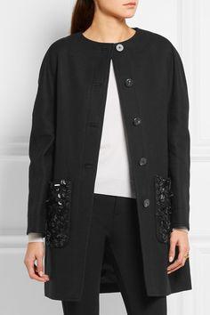BALENCIAGA Embellished cotton-drill coat