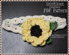 Flower Headband Crochet Pattern - SUNFLOWER - 601