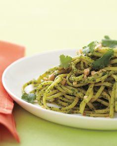 Pasta with Cilantro-Peanut Pesto - Can use gluten free pasta and tamari instead of soy sauce!