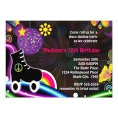 Roller Skate Birthday Invitations Disco Glow Roller Skating Skate Party Invitation