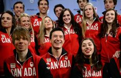 PHOTO: THE CANADIAN PRESS/Sean Kilpatrick Figure skaters Kevin Reynolds of Coquitlam, B.C., (bottom row, left to right) Patrick Chan of Toronto, and Gabrielle Daleman of Newmarket, Ont., are joined by teammates during the announcement of the Canadian Olympic Team in Ottawa on Sunday, January 12, 2014.