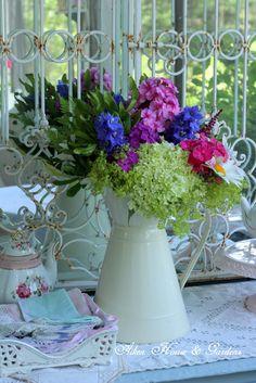 flowers.quenalbertini: Pretty flowers in a white enamel pitcher | Aiken House & Gardens