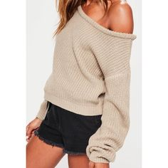 Missguided Nude Off Shoulder Cropped Jumper (€22) ❤ liked on Polyvore featuring tops, sweaters, crop top, cropped jumper, off shoulder tops, jumper top and off the shoulder jumper