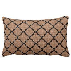 Black Quatrefoil on Rustic Burlap – Shabby Chic Throw Pillow  A pattern of black quatrefoil against rustic burlap. Sweet country style!