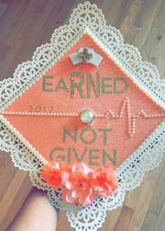 "Nursing graduation cap ""eaRNed not given"" Source by rebeccakersat. College Nursing, Nursing School Graduation, Nursing School Tips, Graduate School, Nursing Schools, Nursing Tips, Nursing Graduation Pictures, College Notes, Ob Nursing"