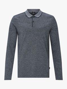 a6597a20f BuyBOSS Mouline Fine Knit Polo Shirt, Open Blue, L Online at johnlewis.com