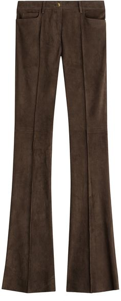 Slip into a pair of suede pants from Jitrois for a considered balance of sultry and sleek appeal. Colored in a rich shade of brown, the flared leg makes them super flattering and just a little bit retro * Brown suede, zipper fly and button, slot pockets, Suede Pants, Brown Suede, Bell Bottom Jeans, Wide Leg, Pairs, Legs, Stylish, Color, Women