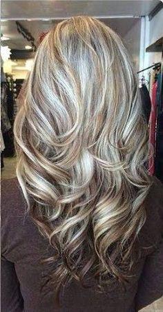 Resultado de imagen para golden blonde highlights on gray hair