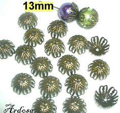 20 Perlenkappen 13 mm Bronze  55.13 von Schmuckmaterial auf Etsy