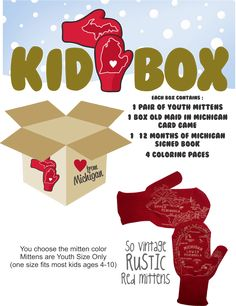 """Michigan Mittens Kid Box is packed with love & fun from Michigan. Each box contains 1 pair of youth Michigan Mittens, a box of """" Old Maid in Michigan"""" playing card game, the classic """"The Twelve Months"""