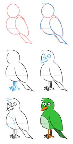 How to draw a bird and play with colors. basic animal drawings How to draw an illustration of a bird basic animal drawings Easy Butterfly Drawing, Easy Flower Drawings, Sunflower Drawing, Easy Drawings For Kids, Pencil Art Drawings, Bird Drawings, Doodle Drawings, Animal Drawings, Easy Drawing Tutorial