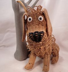 Vintage Wicker Animal Dog Purse With The Most Original Details I Have Ever Seen