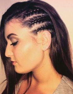 Three Half Braided Side Twists (or Cornrows, perhaps? Half Braided Hairstyles, Box Braids Hairstyles, Fancy Hairstyles, Side Cornrows, Braids Cornrows, Natural Hair Styles, Short Hair Styles, Braid Styles, Long Box Braids