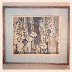 """Wonderful mid century abstract expressionist art - German artist Eglau - """"Marine Still life""""  Beautifully framed, too. Still Life, Annie, German, Mid Century, Abstract, Frame, Artist, Fun, Painting"""