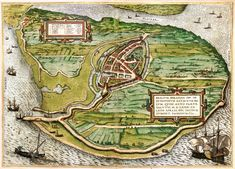 1593 map of the city of Vlissingen Flushing in the Netherlands