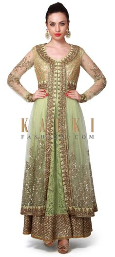 Buy Online from the link below. We ship worldwide (Free Shipping over US$100). Product SKU - 315771. Product Price - $1,059.00. Product link - http://www.kalkifashion.com/green-anarkali-suit-adorn-in-zari-and-kundan-embroidery-only-on-kalki-19647.html