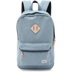 Herschel Supply Co. Heritage Mid Volume Backpack ($96) ❤ liked on Polyvore featuring bags, backpacks, denim, padded backpack, backpacks bags, zip bags, rucksack bag and strap bag