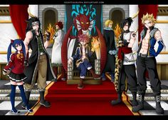 The seven Dragon slayers. and Natsu is THE king. I just loved this picture iiiiiiiiiiiiiiiipppppppppppppp LAXUS! Arte Fairy Tail, Fairy Tail Amour, Read Fairy Tail, Fairy Tail Family, Fairy Tail Love, Fairy Tail Guild, Fairy Tail Couples, Fairy Tail Ships, Fairy Tail Cobra