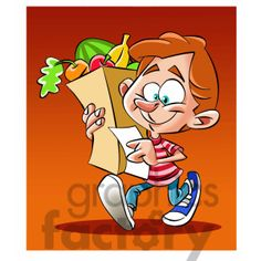Vector child carrying a grocery bag full of food #recipe #shopping #grocery #store #cooking #clipart #images Cooking Clipart, Food Clipart, Vector Clipart, Clipart Images, Image Formats, Royalty Free Clipart, Grocery Store, Bowser, Clip Art