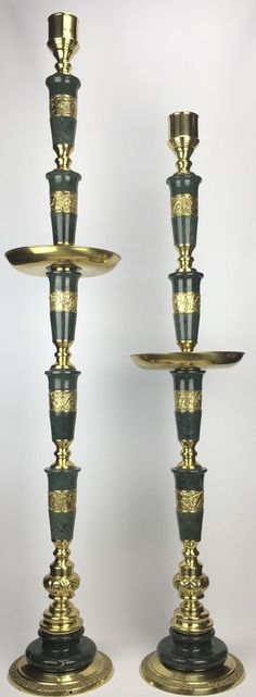 Brass and Marble Candlesticks Dragon Design 53 in (134 cm) Tall 36 lb