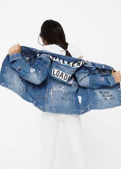 fad970d5b83 Decorative rips denim jacket Ripped Denim