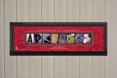 Personalized Arkansas Razorbacks Letter College Art Print Washington State University, University Of Arkansas, State College, Iowa State, College Letters, Letter Art, Wall Art Prints, Lettering, Handmade Gifts