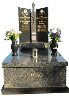 """Futac Cemetery Memorial – Full Monument""  Springvale Botanical Cemetery - All polished full monument cemetery memorial made from Sapphire Brown and Royal Black Indian Granites. Direct import from our exclusive supplier - As stone masons, Taylor Stones create quality cemetery memorials, grave memorials and monument head stones - #cemeterymemorials #gravememorials #stonemasons #monumentheadstones #headstone"